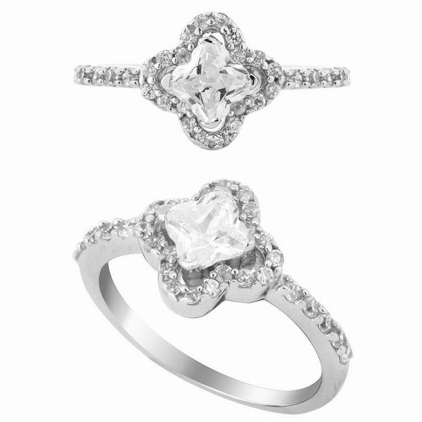 Clover Silver Engagement Ring