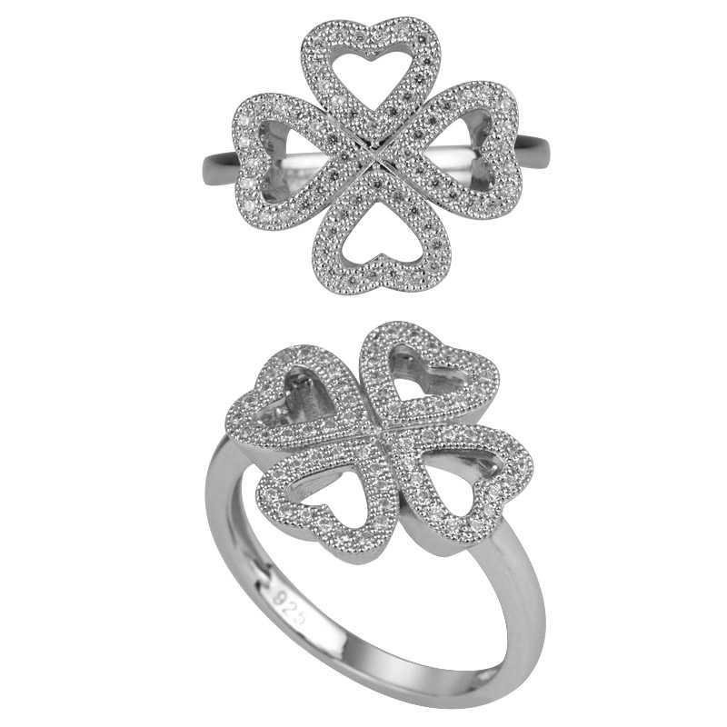 4 Hearts Micro Pave Setting Ring