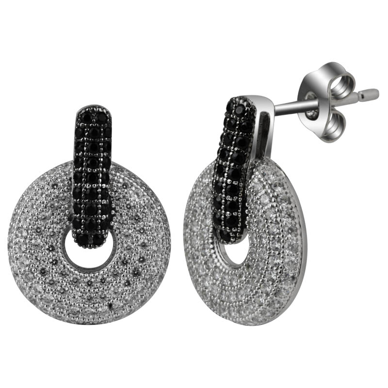 round micro pave earrings