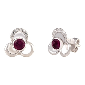 Flower Shape Garnet Stud Earring