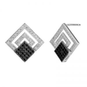 Square Two-Tones Plated Earrings