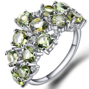 Cluster Lemon Crystal with White CZ Ring