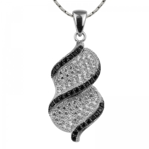 Twist White Zirconia Pendant