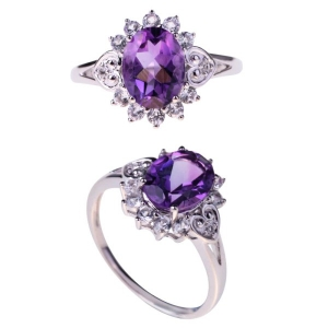 Crystal Amethyst White CZ Ring