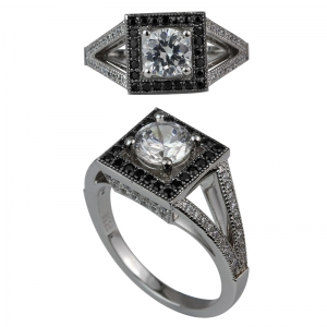 Square Black Halo Round Center Stone