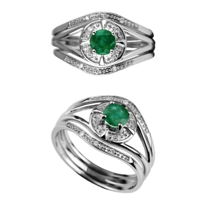 Gemstone Emerald Silver Ring