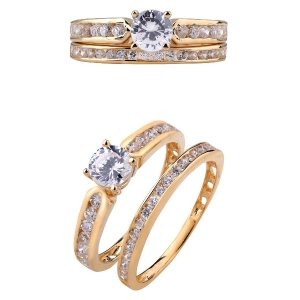 18k Gold CZ Double Ring