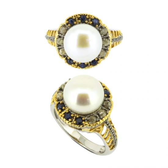 f74a22ed94e4 Venta al por mayor Anillo de perlas de plata 925 con oro
